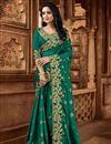 image of Fancy Dark Green Color Art Silk Fabric Sangeet Wear Saree