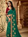 image of Designer Art Silk Fabric Function Wear Saree In Teal Color