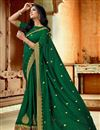 image of Green Color Art Silk Fabric Saree For Mehendi Ceremony