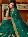 photo of Art Silk Fabric Function Wear Teal Color Embroidered Saree
