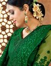 photo of Art Silk Fabric Sangeet Wear Green Color Embroidered Saree