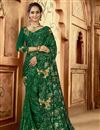 image of Green Color Function Wear Trendy Embroidered Saree In Art Silk Fabric