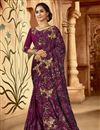 image of Purple Color Festive Wear Art Silk Fabric Embroidered Saree