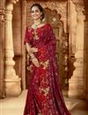 image of Party Wear Art Silk Fabric Embroidered Saree In Red Color