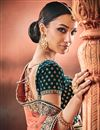 picture of Net Fabric Function Wear Designer Embroidered Border Peach Saree