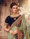 photo of Art Silk Fabric Sangeet Wear Khaki Color Embroidery Work Saree