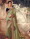 image of Art Silk Fabric Sangeet Wear Khaki Color Embroidery Work Saree