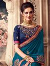 photo of Sangeet Wear Sky Blue Color Art Silk Fabric Embroidery Work Saree