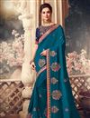 image of Sangeet Wear Sky Blue Color Art Silk Fabric Embroidery Work Saree
