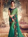 image of Sea Green Color Georgette Silk Fabric Embroidery Work Saree
