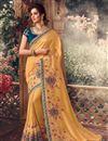 image of Yellow Color Designer Saree In Art Silk Fabric
