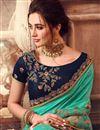 photo of Light Teal Color Sangeet Wear Art Silk Fabric Embroidery Work Saree