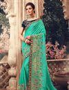 image of Light Teal Color Sangeet Wear Art Silk Fabric Embroidery Work Saree