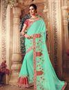 image of Art Silk Fabric Light Teal Color Designer Saree