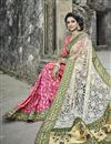 photo of Embroidery Work On Art Silk And Net Fabric Party Wear Saree In Pink