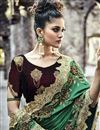 photo of Green Designer Saree In Art Silk And Net Fabric With Embroidery Designs