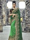 image of Green Designer Saree In Art Silk And Net Fabric With Embroidery Designs