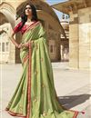 image of Designer Function Wear Sea Green Fancy Embroidered Saree In Art Silk