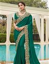 image of Green Color Puja Wear Fancy Art Silk Fabric Embroidery Work Saree