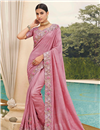 image of Fancy Art Silk Fabric Function Wear Pink Color Embroidery Work Saree