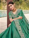 photo of Art Silk Fabric Sangeet Wear Sea Green Color Embroidery Work Fancy Saree