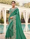 image of Art Silk Fabric Sangeet Wear Sea Green Color Embroidery Work Fancy Saree