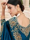 photo of Wedding Wear Art Silk Fabric Embroidery Work Fancy Saree In Blue Color