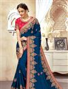 image of Blue Color Art Silk Fabric Embroidered Function Wear Stylish Saree