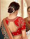 photo of Art Silk Fabric Dark Green Color Sangeet Wear Designer Embroidered Saree