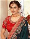 picture of Art Silk Fabric Dark Green Color Sangeet Wear Designer Embroidered Saree