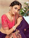 picture of Purple Color Art Silk Fabric Reception Wear Embroidered Saree