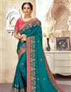 image of Cyan Color Art Silk Fabric Stylish Embroidered Function Wear Saree