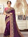 image of Art Silk Fabric Purple Color Fancy Embroidered Festive Wear Saree