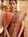photo of Burgundy Color Embroidered Saree In Art Silk For Wedding Functions