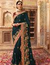 image of Art Silk Wedding Wear Dark Grey Embellished Designer Saree