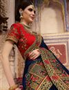 photo of Wedding Wear Fancy Navy Blue Embroidered Saree In Art Silk