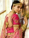picture of Satin Fabric Peach Function Wear Designer Lehenga With Fancy Embroidery Work
