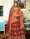 image of Wedding Wear Satin Maroon Designer Lehenga With Heavy Work