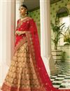 image of Sangeet Wear Beige Fancy Lehenga In Satin Fabric With Heavy Embrodiery Work