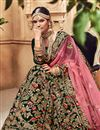 photo of Fancy Fabric Dark Green Bridal Designer Lehenga With Embroidery Work