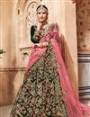 image of Fancy Fabric Dark Green Bridal Designer Lehenga With Embroidery Work