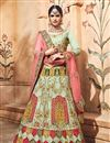 image of Embroidered Sea Green Bridal Lehenga In Fancy Fabric With Designer Choli