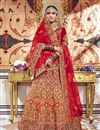 image of Fancy Fabric Red Wedding Wear 3 Piece Lehenga Choli With Embroidery Work