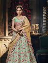 image of Embroidery Work On Sea Green Designer Lehenga In Art Silk Fabric With Blouse
