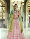 image of Traditional Function Wear Satin Silk Fabric Embroidered Designer Lehenga Choli In Pink