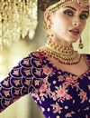 photo of Blue Function Wear Fancy Velvet Fabric Embroidered 3 Piece Lehenga Choli