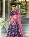 image of Blue Function Wear Fancy Velvet Fabric Embroidered 3 Piece Lehenga Choli