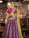 image of Eid Special Jacquard Silk Reception Wear Designer Embroidered Lehenga In Purple