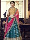 image of Eid Special Satin Silk Reception Wear Designer Embroidered Lehenga In Teal