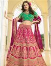 image of Eid Special Art Silk Fabric Wedding Function Wear Designer Embroidered Rani Color Lehenga